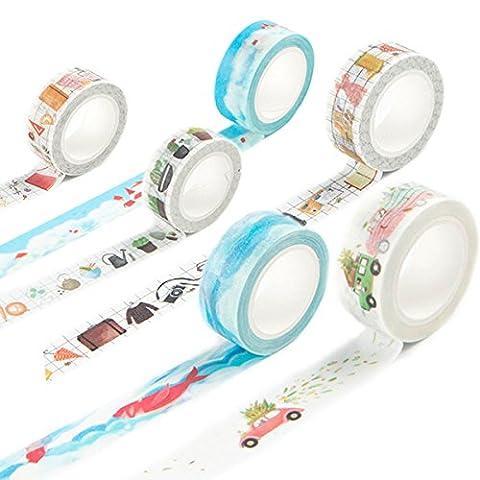 Washi Tape Set Masker Tape Art Crafty Rollen Dekorieren Basic Classic DIY Papier Klebeband 15mm x 7mm Travel