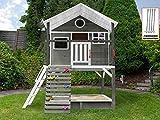 Scheffer Outdoor-Toys Stelzenhaus grau mit Kletterwand, Sandkasten Tobi4you. Kinderspielhaus, Sicherheit wählen:4X Bodenanker, Rutsche wählen:ohne Rutsche