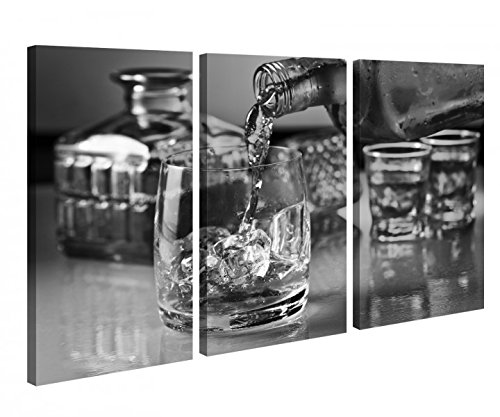 hisky Alkohol Glas Flasche Fest Schwarz weiß Leinwand Bild Bilder Holz fertig gerahmt 9P1193, 3 tlg BxH:120x80cm (3Stk 40x 80cm) ()