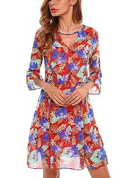 cooshional Donna A-Line stampata vestito pieghettata Hem chiffon con fodera