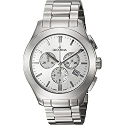 GROVANA 2096.9132 Unisex Quartz Swiss Watch with White Dial Chronograph Display and Silver Stainless Steel Bracelet