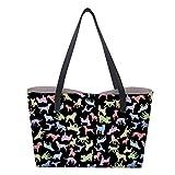 Shopper Bunt Hund Handtasche Schultertasche PU Leder Einkaufstasche Tragetasche mit Geldbörse für Damen
