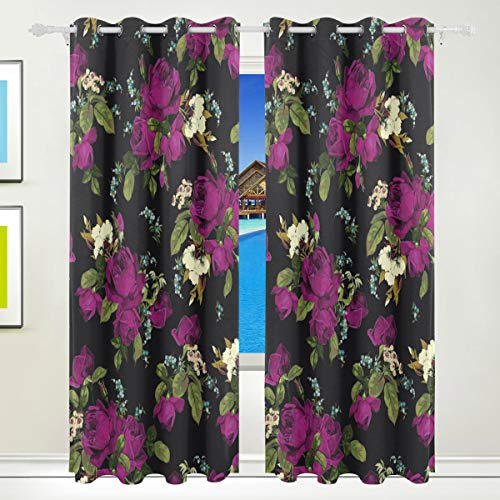 XiangHeFu Schöne Einrichtung Verdunklungsvorhänge mit Tülle Top Floral Muster Vintage rote Rosen Vorhänge Set von 2Platten, je 55W x 84L Zoll für Home Wohnzimmer Schlafzimmer Büro