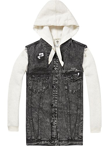 Scotch & Soda Maison Damen Jacke Ams Blauw Felix the Cat Oversized Black Trucker Vest, Schwarz (Black 08), X-Small