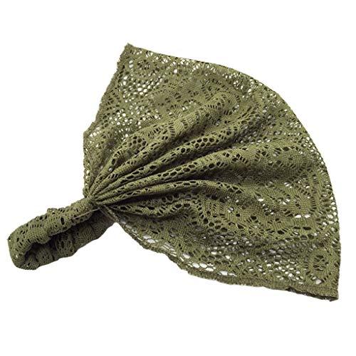 Sasstaids Stirnbänder Frauen Yoga Spitze Hohl Kopf Wrap Breites Stirnband Blume Haarband Haarband Grün
