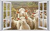 DesFoli Schafe Sheep 3D Look Wandtattoo 70 x 115 cm Wanddurchbruch Wandbild Sticker Aufkleber F107