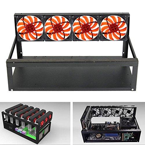 Leise Slot-fan (ZREAL 6 GPU Mining Rig Aluminiumkoffer + 4 Ventilatoren Open Air Rahmen für ETH ZEC / Bitcoin)