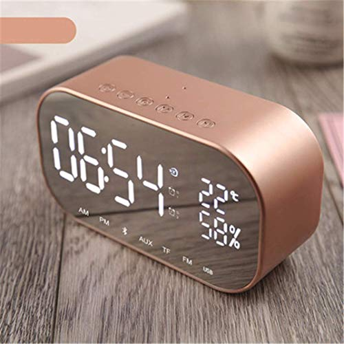 AMYZS-KK Digit Spiegel Wireless FM Radio Clock, Bluetooth Wireless LED Dual-Lautsprecher Metall Music Player Wecker Nachttisch Spiegelfläche Multifunktions Wecker,Rosegold (Pink)