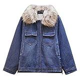 SMILEQ Mode Frauen Winter Herbst Baumwolle Dicke Jeansjacke Windbreaker Mantel Outwear -