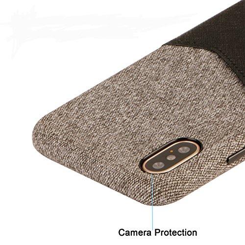 Custodia per iPhone X, tessuto e cuoio rigido Anti-Scratch Anti-Slip Ultra-sottile Supporta Wireless Charging per 5,8 pollici Apple X (nero) nero