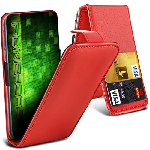 Fone-Case (Red) HTC One M9s Hülle Abdeckung Fall Clamp Style Schutz PU Leder Flip-Cover