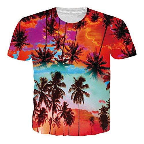 NEWISTAR Jungs 3D Druck Hawaiian Shirt T-Shirt Tees Tops mit Rundhalsausschnitt L (Eier Grade)