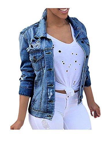 Legou Damen Denim Jacket Jeansjacke Beiläufige Outwear Jeans Mantel Dunkel Blau L
