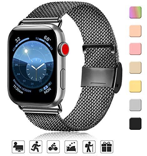AK kompatibel mit Apple Watch Armband 38mm 40mm 42mm 44mm, Metall Edelstahl Ersatzarmband kompatibel mit iWatch Series 5/4/3/2/1 (02 Schwarz, 38mm/40mm)