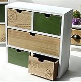 QI3 Desktop Holz Aufbewahrungsbox mit Schublade Finishing Aufbewahrungsbox Büro Hause Multifunktions-Holzkiste