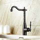 TYAW-SHOP Waschbecken/warm/kalt Wasserhahn retro voll Kupfer Bronze couplet Lift single ein Loch für die Küche