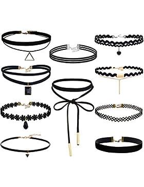 Sailimue 8-10Pcs Schwarz Samt Choker Halskette für Damen Mädchen Kette