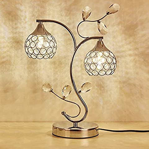 Baoduohui Crystal table lamp for reading desk lamp, living room table lamp, bedroom night light, hotel decoration desk lamp interface G4 * 2