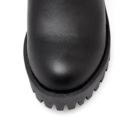 VogueZone009 Femme Tire à Talon Haut Pu Cuir Couleur Unie Haut Élevé Bottes Noir