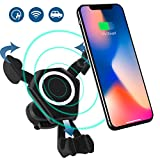 WELUV Qi KFZ Induktions Ladegerät Halterung Auto Drahtlos Schnell ladestation Handy Ständer Halter Induktions Pad Wireless Fast Charging Phone Holder Für iPhone X 8 8plus 6 6s Samsung S8 S7 S6 Edge Note 8 Alle 4.7-6 Zoll Smartphone