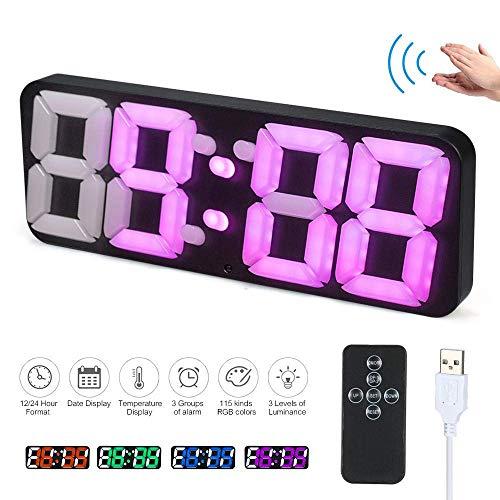 YXTK Reloj Despertador De Pared 3D Inalámbrico Remoto Escritorio Digital Termómetro LED Fecha Control...