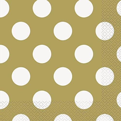 "6.5"" Gold Polka Dot Paper Napkins, Pack of 16"