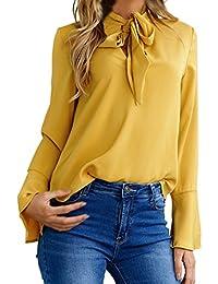 b515e1160c88 Camicia Donna Elegante Estiva Maglie A Manica Lunga Autunno Top con Cintura  Butterfly Blusa Sciolto Puro Colore Maglietta Moda…