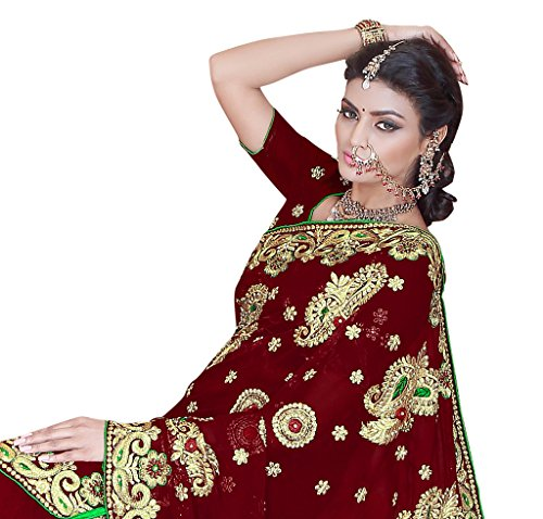 SOURBH Women's Faux Georgette Heavy Hand Work Embroidery Bridal/Wedding Wear Saree (2384_Maroon)