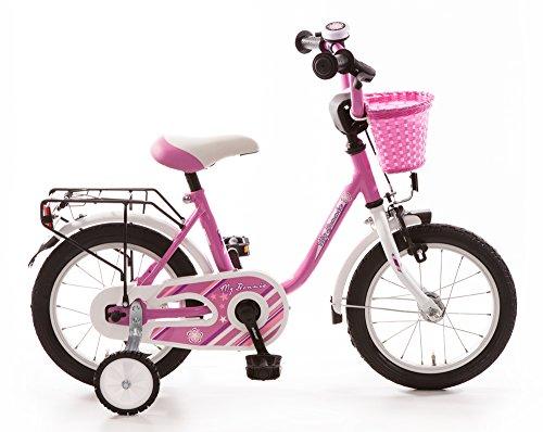 Bachtenkirch Kinderfahrrad 14 Zoll My Bonnie pink Stützräder und Seitenständer Korb vorn