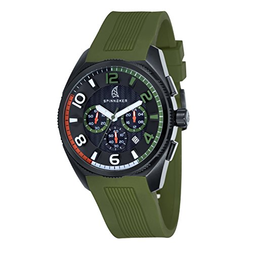 Spinnaker Men's Chronograph Sports Date Quartz Watch with Black Dial Analogue Display and Green Silicone Strap SP-5022-05