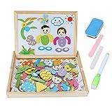 Magnetisches Holzpuzzle,Holzbrett Spielzeug,Pomisty Staffelei Doppelseitiges Magnetisches Kinder Spielzeug ab 3 4 5 jahre Kinder