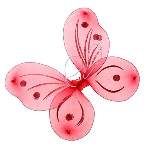 SM SunniMix Reizende Elfenflügel Feenflügel Schmetterlingsflügel Kostüm Flügel, Farbwahl - rot (Butterfly Halloween Kostüme Baby)