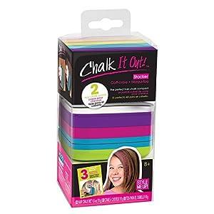 Style Me Up SMU-1618 - Kit de Tiza para cabello para niñas con diseños en plantillas y accesorios para el cabello - Tinte temporal para cabello no tóxico