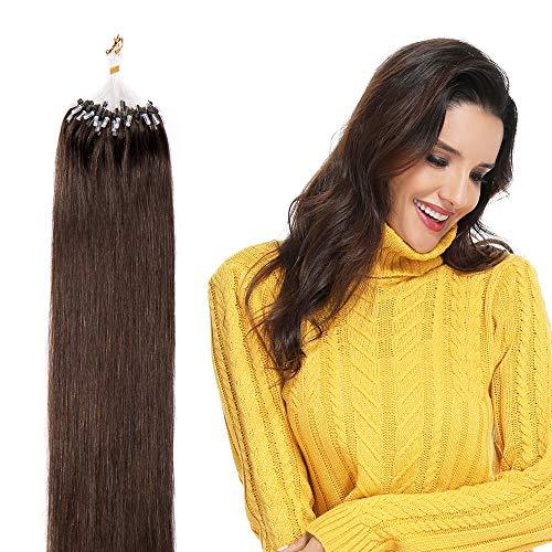 Micro ring hair extensions capelli veri micro loop 100 ciocche 50g/pack lunga 40cm 100% remy human hair con micro anelli lisci umani, 4 marrone scuro