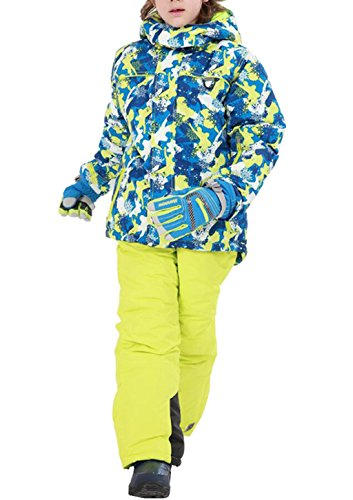Jungen Mädchen Kinder Skianzug Skijacke Skihose Regenlatzhose Verdickung Lang Jacket Wintermantel Mantel(Keine Handschuhe) (Grün, 116/122( Etikett 120))  