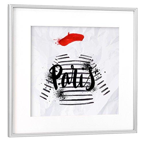 artboxONE Poster mit Rahmen Silber 20x20 cm Paris Fashion von Anna Kozlenko - gerahmtes Poster