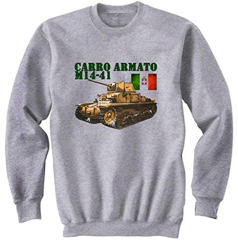 Teesquare1st Men's CARRO ARMATO M14-41 ITALIAN WWII Grey Sweatshirt Size XXLarge