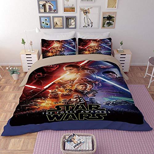 bed linings Bettwäsche-Set 3D Star Wars Druck 3 Stück Set Bettwäsche 100% Mikrofaser Für Geschenke (1 Bettbezug + 2 Kissenbezüge) L-Twin(172x218cm) (Star Wars Bettwäsche Twin)
