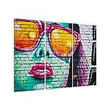 malango® Leinwandbild Graffiti Frau Sonnenbrille 3-teilig Kunstdruck Pop Art Fotoleinwand handgefertigt Wanddekoration Bild Foto Styling Design Kunst Leinwand 100 x 60 cm