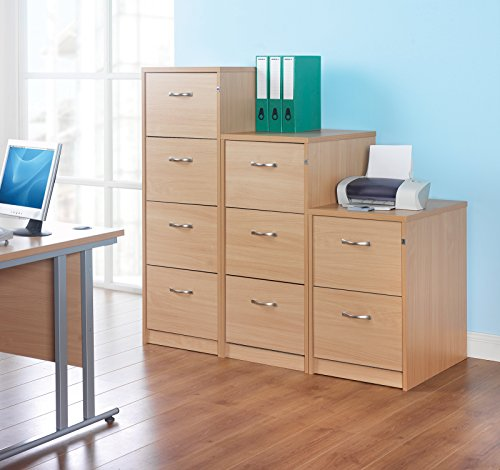 Office Elephant OE05-LF3B Deluxe executive three drawer filing cabinet with anti-tilt, supplied with silver handles and accepts foolscap only, in beech