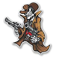 2 x Cowboy Skull Vinyl Sticker Decal Laptop Travel Luggage Car iPad Sign Fun #4192