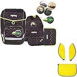 Ergobag Cubo Drunter und DrüBär Schulrucksack-Set 5tlg + Cubo-Sicherheitsset Gelb