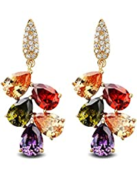 CECE DEE Boucle d'oreille Pendante pour Femme Cuivre Plaque Or Rose 18K Oxyde de Zirconium Multicolore Bijoux Fantaisie Hauteur:4.2cm