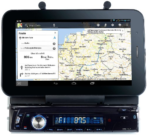 Creasono Autoradio DIN 1: Autoradio CAS-4500tab mit Bluetooth & Tablet-Halterung bis 17,8cm / 7' (Kfz Radio)
