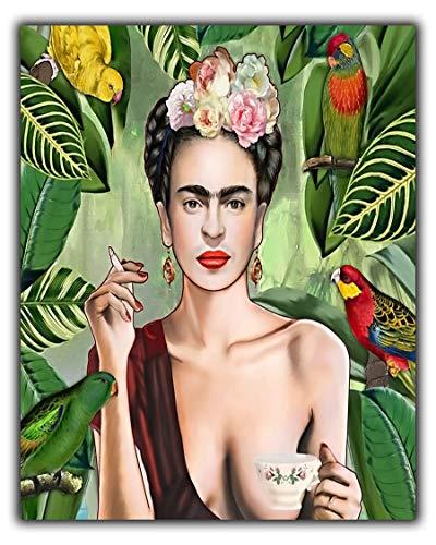 Frida Kahlo Con Amigos Selbstportraits Ölfarbe, Reproduktion auf gerahmter Leinwand, 30'' x 24'' inch(76x 60 cm)-18mm depth