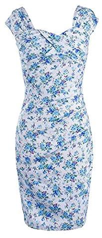 U-SHOT Mesdames 'Plissé à manches courtes slim fit robe Soirée Cocktail Grande boule Crayon - bleu -