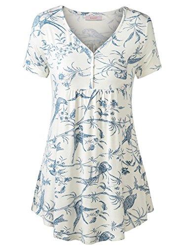 WAJAT Damen Henleyshirt LongTee V-Ausschinitt Tunika Vintage Basic Weiß Blumen S