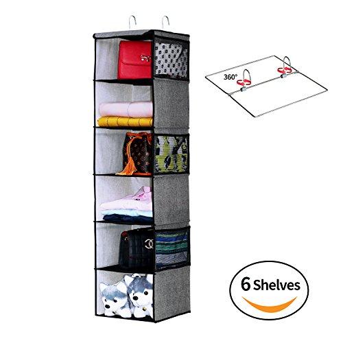 Homyfort organizer armadio con 6 scomparti, pieghevoli mensole pensili bagagli, armadio da appendere per la cameretta dei bambini, 30 x 30 x 120 cm, colore: nero lino, xax6cp