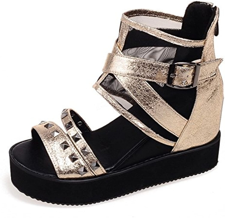 Shymamamiya Remaches de Moda Lucha contra el Color de Malla de Tela Zapatos Romanos Gruesas Hebilla de Cinturón...