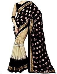 DreamSet Women's Silk & Georgette Saree (Karishma Saree12, Multicolor, Free Size)